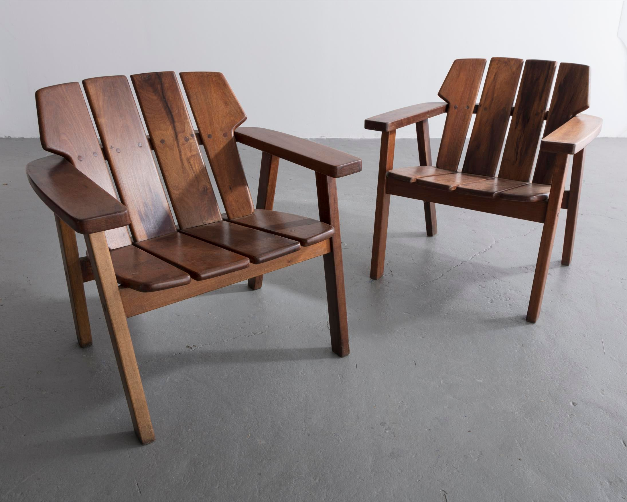 Pair Of Slatted Rosewood Lounge Chairs By Sergio Rodrigues, Brazil, 1960s.    Image