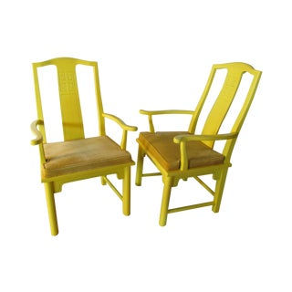 Vintage Ming Style Yellow Armchairs - A Pair