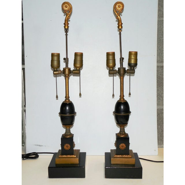 Antique Empire Style Lamps - Pair - Image 2 of 10