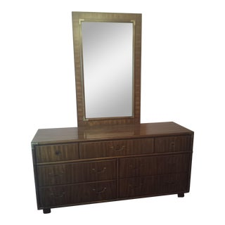 Drexel Accolade 7 Drawer Campaign Style Dresser With Detachable Mirror