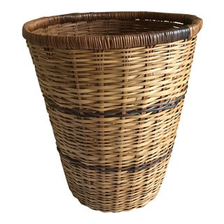 Vintage Boho Wicker Wastebasket