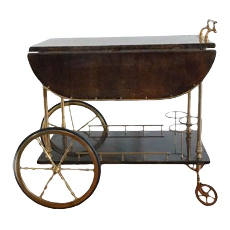 Aldo Tura Goatskin Bar Cart - Image 1 of 7