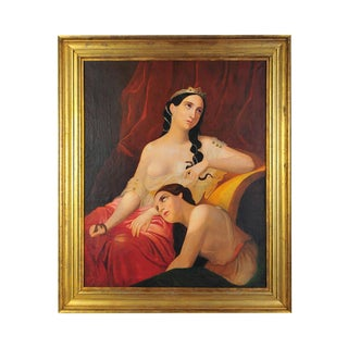 """Cleopatra & Her Maiden"" 19th Century Oil Painting"