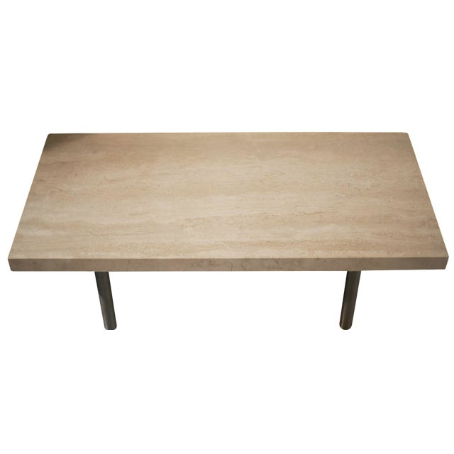 Stainless Steel Coffee Table: Travertine & Stainless Steel Coffee Table