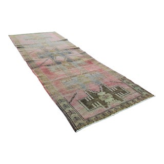 Vintage Over-Dyed Hand-Knotted Turkish Tribal Rug- 3'5 X 10'