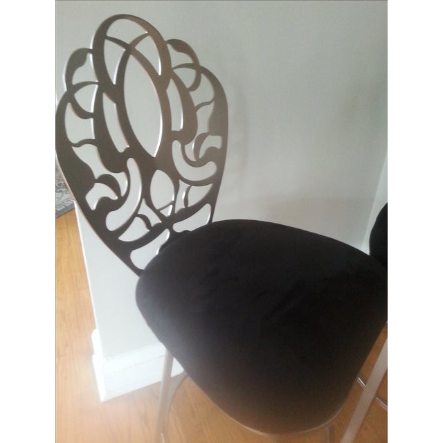 Carved Brushed Nickel Barstools - A Pair - Image 6 of 9