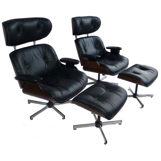 Plycraft Mid-Century Chairs & Ottomans - A Pair - Image 1 of 8