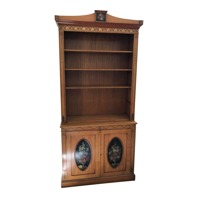 Regency-Style Satinwood Floral Bookcase - Image 1 of 10
