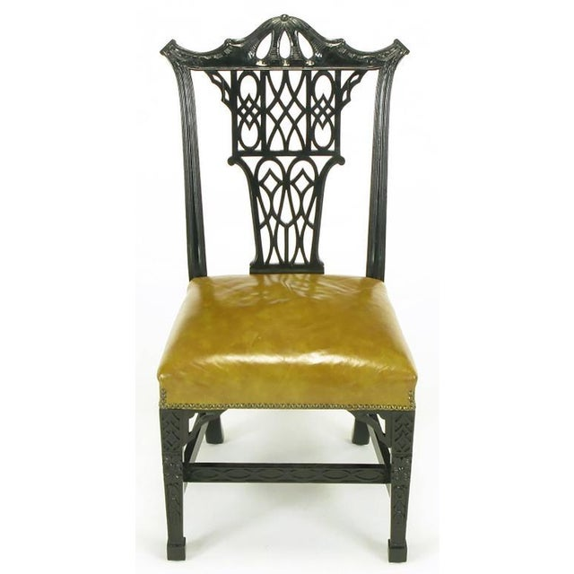 Eight Chinese Chippendale Ebonized Mahogany Dining Chairs with Leather Seats - Image 2 of 9
