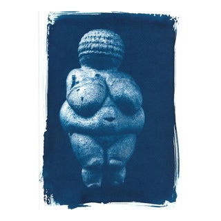 Venus of Willendorf Pre-historic Sculpture, Cyanotype on Watercolor Paper, A4 size (Limited Edition)