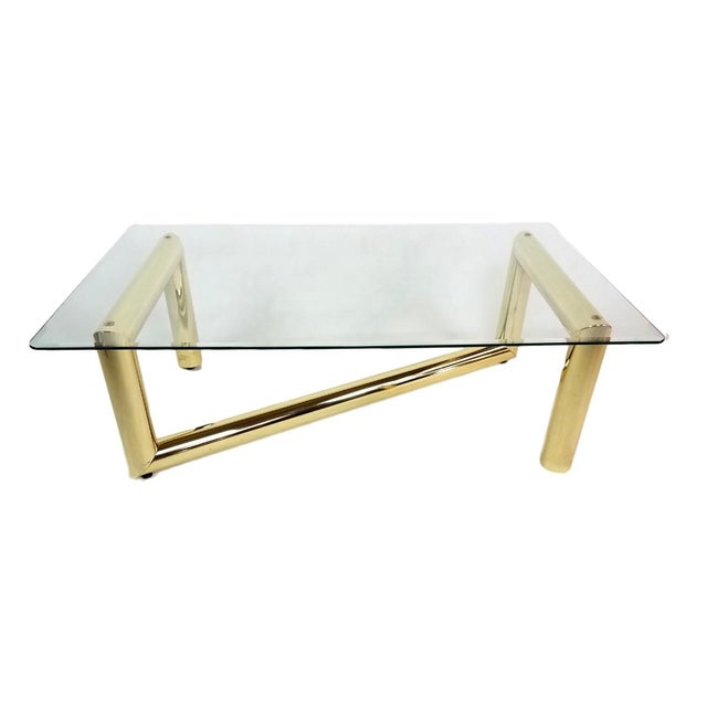 Karl Springer Tubular Brass Z Shaped Coffee Table Chairish