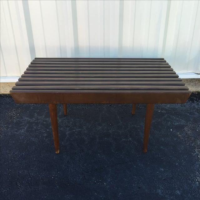 Mid Century Modern Walnut Slat Bench - Image 3 of 6