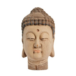 Vintage Wood Buddha Head