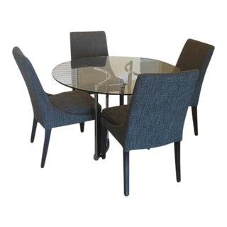 Mid-Century Glass & Chrome Dining Set - Set of 4