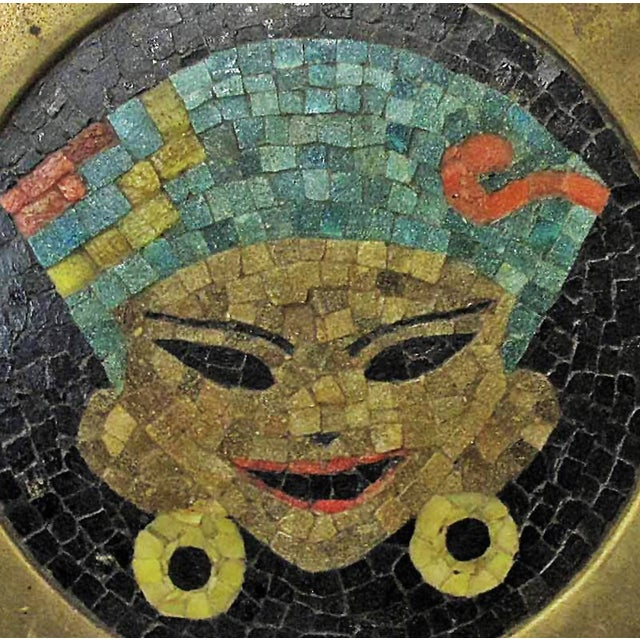 Vintage Brass Tray W/ Mosaic Tile Inlay - Image 2 of 4