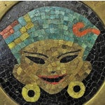 Image of Vintage Brass Tray W/ Mosaic Tile Inlay