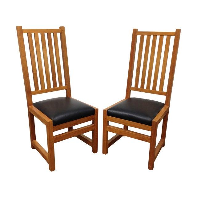 Custom Designed Teak Chairs - A Pair - Image 1 of 7