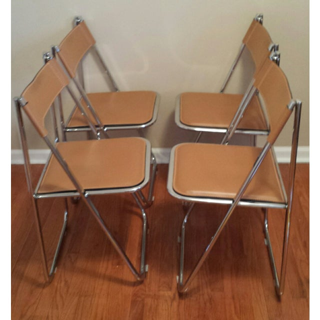 Image of Arrben Italian Leather & Chrome Chairs - Set of 4
