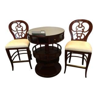 Kindel Mahogany Wine Bar & Matching Barstools