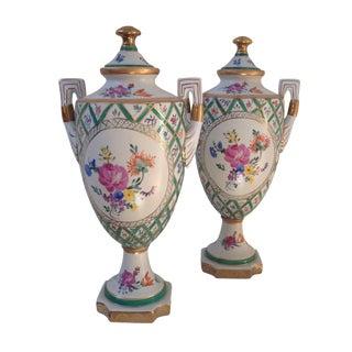 Floral Porcelain Urns - A Pair