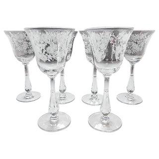 Rose Etched Crystal Glasses - Set of 6