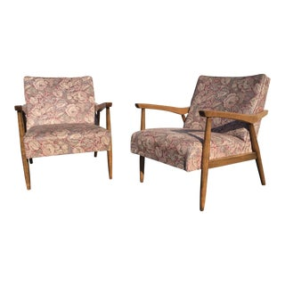 Mid-Century Blonde Floral Vinyl Lounge Chairs - A Pair