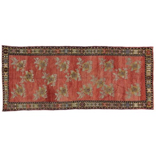 "Vintage Turkish Oushak Carpet Runner With Traditional Style - 4'10"" X 11'7"""