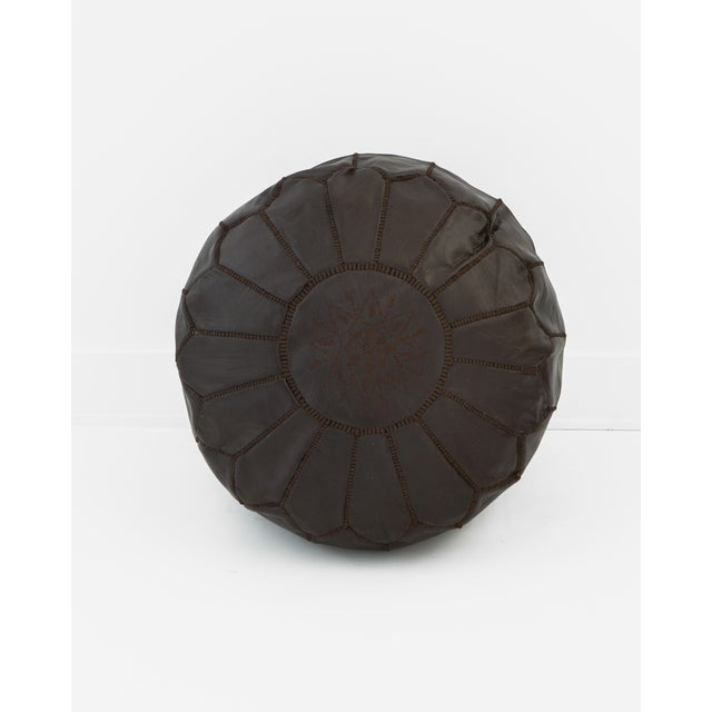 Image of Moroccan Brown Leather Pouf Ottoman