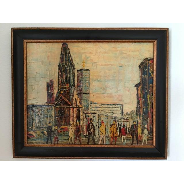 Midcentury Berlin Street Oil Painting - Image 2 of 5