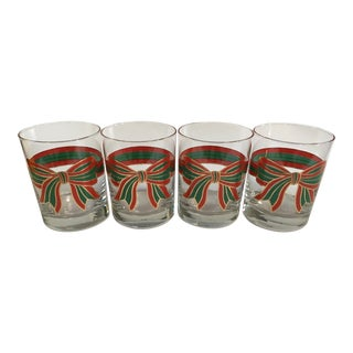 Vintage Holiday Bow Cocktail Glasses – Set Of Four