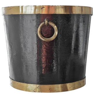 Mexican Brass and Painted Metal Bucket