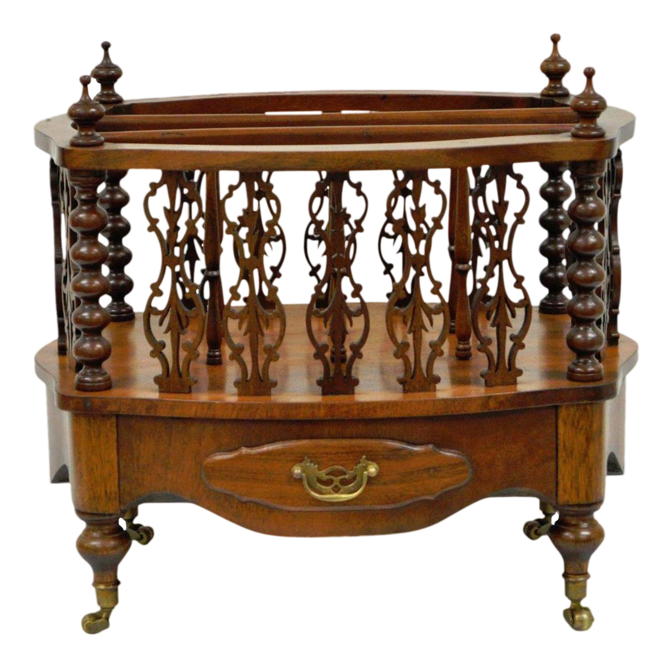 Antique English Pierce Carved Solid Mahogany Oval Canterbury Magazine Rack  Stand