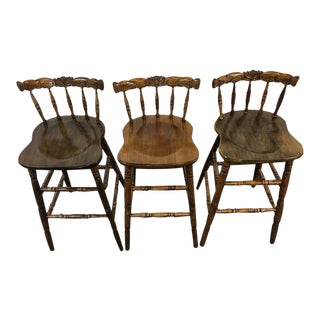 Vintage Carved Walnut Bar Stools - Set of 3