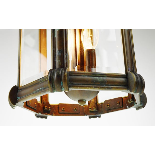 Bronze & Beveled Glass 3 Light Lantern Light Fixture - Image 7 of 11