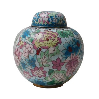 Chinese Blue Floral Enameled Metal Round Lidded Urn
