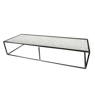 Antique Large Steel and Etched Glass Coffee Table c.1900
