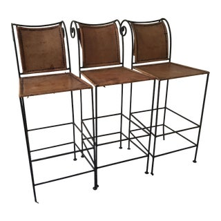 Scrolled Iron & Leather Bar Stools - Set of 3