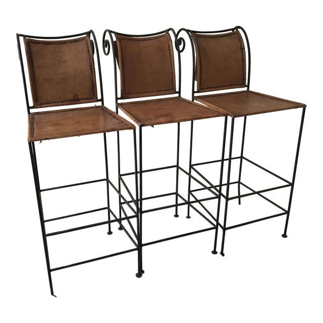 Image of Scrolled Iron & Leather Bar Stools - Set of 3