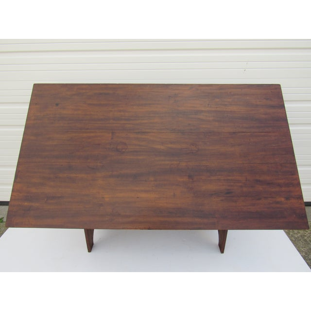 Antique Farmhouse Trestle Table/Bench - Image 8 of 9
