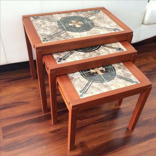 Danish Modern Gangso Mobler Tile Nesting Tables - Image 6 of 8