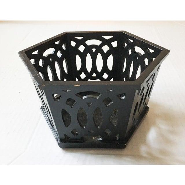 English Fretwork Octagonal Ebonized Wood Cachepot - Image 2 of 6