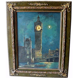 Antique Big Ben Oil Painting With Real Clock