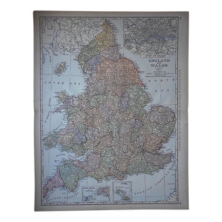 "Antique Map - England & Wales-27.5""x21.25"""
