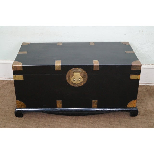 Image of Black Lacquer Chinese Camphor Campaign Trunk