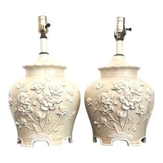 Italian Ceramic Lamps With Raised Flowers - Pair