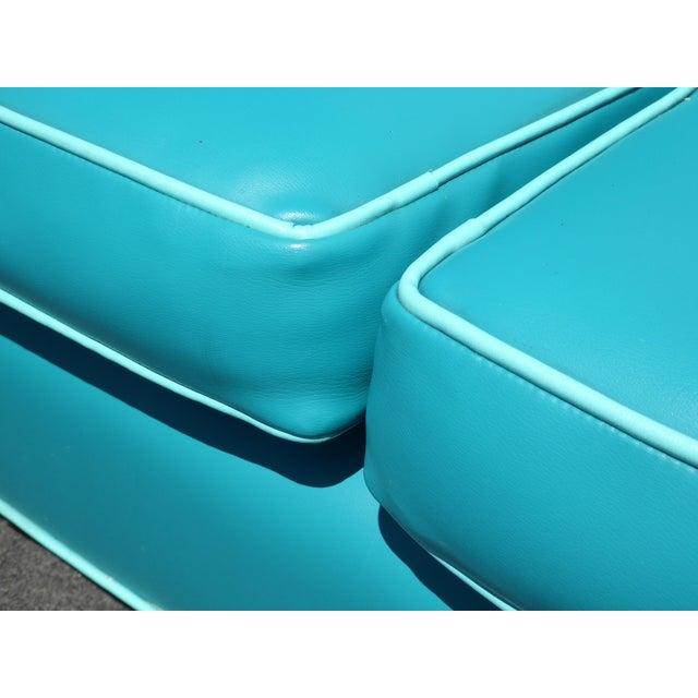 Image of Mid-Century Turquoise Vinyl Sofa