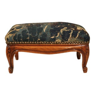 19th Century French Louis XV Carved Walnut Footstool