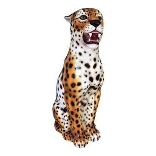 Hollywood Regency Italian Ceramic Leopard
