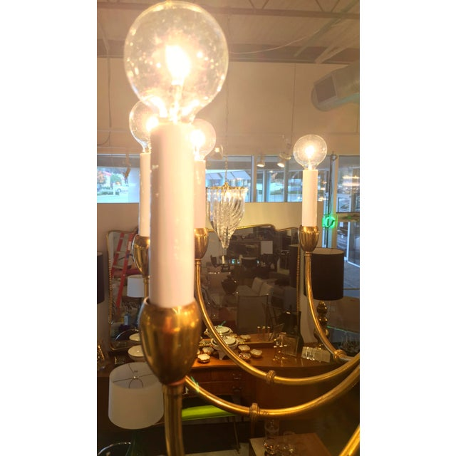 Image of Mid-Century Modern Brass Chandelier in the Manner of Tommi Parzinger