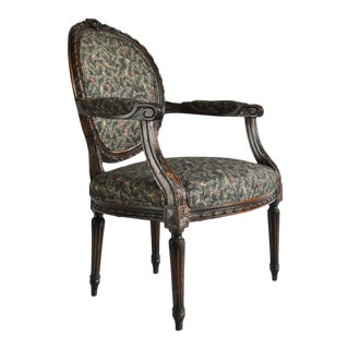 French Louis XVI Style Carved Walnut Fireside Arm Chair Fauteuil